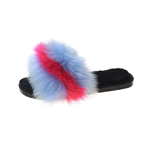 N/W Zapatillas de Suela Dura, Zapatillas de Felpa de otoño e Invierno, Zapatillas de algodón de Talla Grande-Blue_38-39