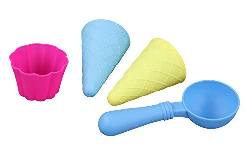 Idena 40164 - Sandspielzeug Förmchen Eiswaffeln 4er Set, bestehend aus Eisportionierer, 2 Hörnchen und 1 Eisbecher, zum Spielen am Strand und im Sandkasten