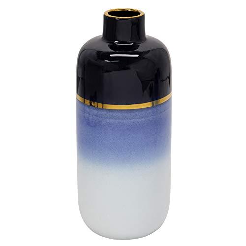 Vase aus Keramik, 40,6 cm, mit goldfarbenem Rand, Blau/Weiß