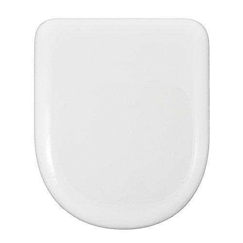 WC-SITZ | D-U FORM | RUNDE FRONT | KOMPATIBLER TOILETTENSITZ | EINSTELLBARER & ABNEHMBARER INOX SCHARNIER | EASY-CLEAN & EINFACH ZU INSTALLIEREN | UNVERWÜSTLICH | 43 x 36 x 5 cm (Weiß)