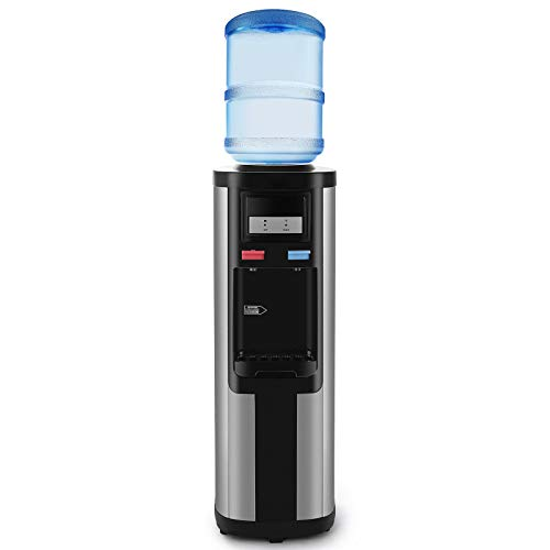 Water Cooler Dispenser 3-5 Gallon Top Loading Stainless Steel Freestanding Compressor Cooling,Hot and Normal Temperature Water