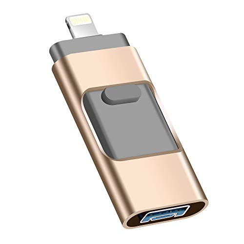 USB Flash Drive 128G, USB Memory Stick Jump Drive Thumb Drive 3.0 Flash Drive Compatible for iPhone/iPad/PC/Android Password/Touch ID Protected Flash Drive for iOS/iPhone USB Flash Drive
