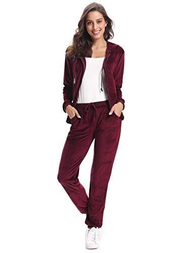 Abollria Damen Hausanzug Velours Trainingsanzug mit Samtoptik Kapuzejacke mit Reißverschluss Hose, Rot, Gr.- M