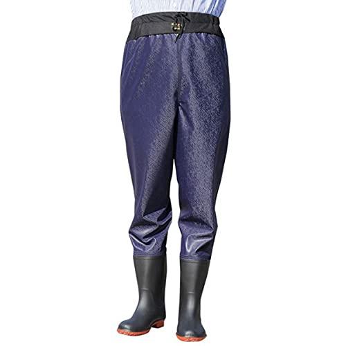 LGQ Pantalones de vadeo Vadeadores de Pesca Vadeadores de Pesca Transpirables Pantalón de guía de pie para Pesca con Mosca, Caza de Patos, Kayak, Pantalones Impermeables,Azul,L