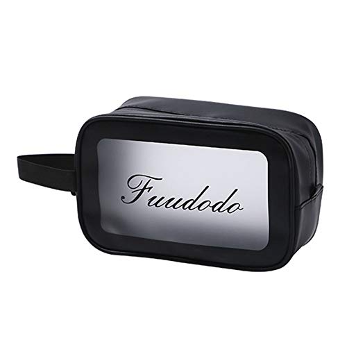 HEELPPO Cosmetic Bag Organizer Bag Toiletry Bag Girls Transparent Cosmetic Bag Waterproof Storage Bag Made Of PVC Matt For Travel Vacation Bathroom Storage Black,M