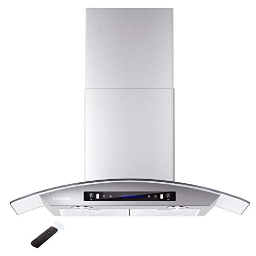 HisoHu Wall Mount Range Hood, 36 Inch 780 CFM Stainless Steel Kitchen Chimney Vent, 4 Speed Gesture Sensing & Touch Control Switch Panel Exhaust Hood with Adjustable Timer and Dimmable LED lights…