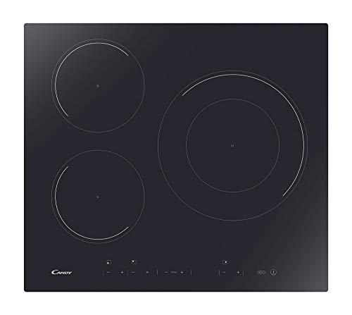 Candy CID 633DC Plaque à induction double couronne, largeur 60 cm, 3 zones de cuisson, 9 niveaux, puissance totale 7,1 kW, commandes indépendantes, Noir