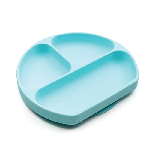 Bumkins Silicone Grip Dish, Suction Plate, Divided Plate, Baby Toddler Plate, BPA Free, Microwave Dishwasher Safe , Blue-GD, 1 Count