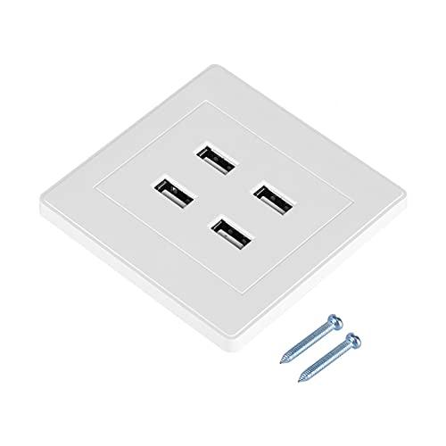 4 puertos USB DC 5V Toma de corriente eléctrica montada en la pared Cargador para el hogar/oficina/lugar público/hotel (110~250V)