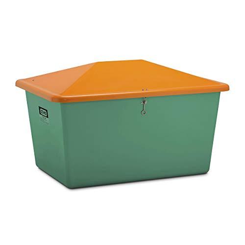 CEMO Streugutbehälter aus GfK - Volumen 1100 l, ohne Entnahmeöffnung, Behälter grün