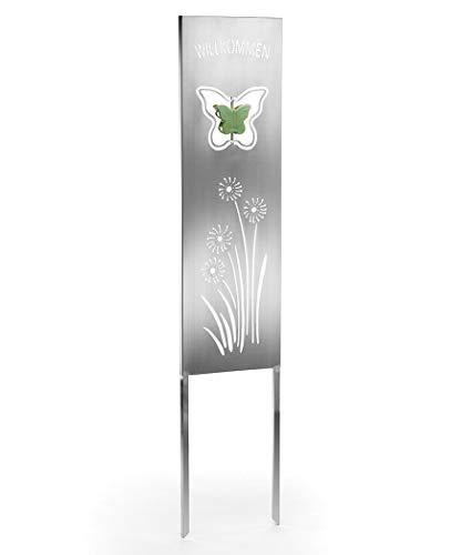 Kobolo Gartenstecker Gartentafel Gartenschild - Butterfly Schmetterling- 25x2x120 cm