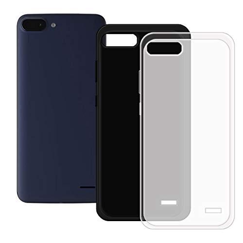 DQG Anti-Fall Schutzhülle für Archos Core 55S Ultra Hülle, 2 Stück Weiche Flexibel Handytasche Semi-Transparent + Schwarz TPU Handyhülle Silikon Tasche Schale Hülle Cover für (5.45