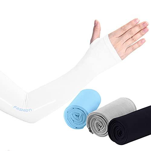 アームカバー レディース UVカット ひんやり 接触冷感 紫外線対策 防蚊効果 虫除け 日焼け止めアームカバー 吸水速乾 指掛けタイプ 両腕2枚入り (ホワイト)