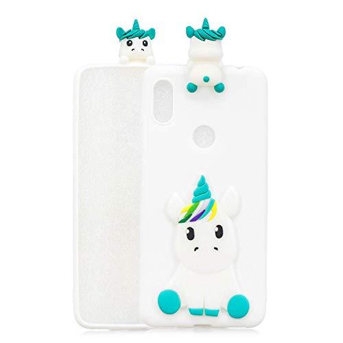 LAXIN Kompatibel mit Xiaomi Redmi Y2 Hülle Silikon 3D Cute Muster [White Unicorn] Girly Matte Cover Protective Ultra Dünn Slim Bumper One Piece Stoßfest für Mädchen Jungen Männer Frauen