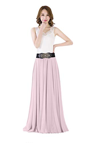 Sinreefsy Summer Chiffon High Waist Pleated Big Hem Floor/Ankle Length Beach Maxi Skirt for Women Wedding Party Long Skirts(Large/Nude Pink)