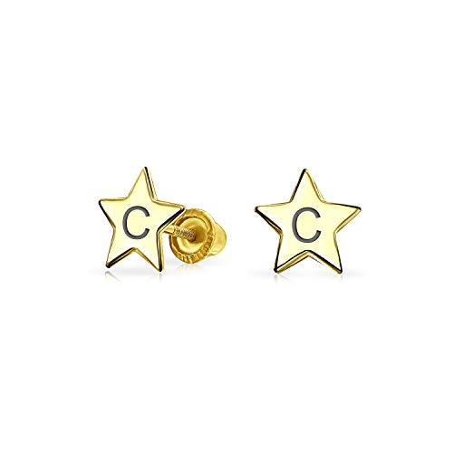 Personalized Initial Letter C Minimalist Real Yellow 14KGold Screwback Alphabet Initials C Solid Star Stud Earrings For Women Teen Girlfriend Custom Engraved