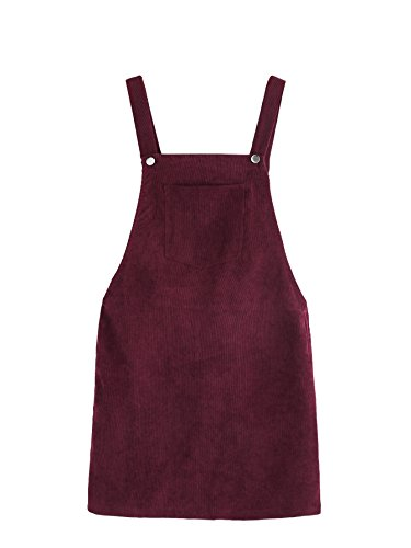 Romwe Women's Straps A-line Corduroy Pinafore Bib Pocket Overall Dress Burgundy M