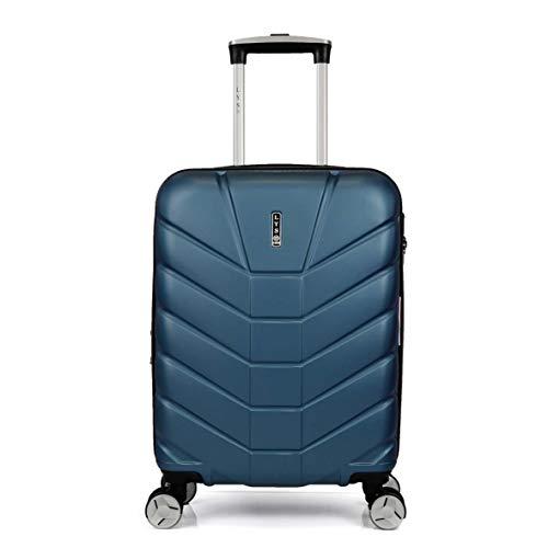 LYS – Maleta de cabina extensible Trolley 55 x 37 x 20 cm Plus 7 cm flexible ultra ligera 4 ruedas forradas ABS rígido equipaje de mano para Ryanair, Easyjet, Lufthansa, etc. Azul azul small