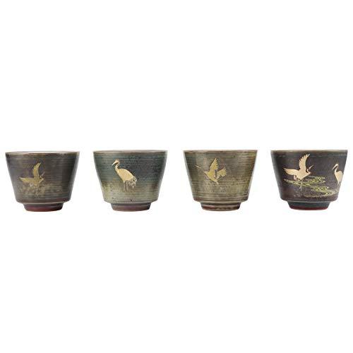 Les-Theresa - Juego de 4 Tazas de té al Horno Retro al Horno, vajilla de cerámica de Estilo japonés para té de Kung Fu(Style2)