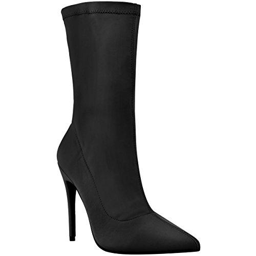 Fashion Thirsty Damen Stiefel IM Stiletto-Look - Elastischer Schaft - Spitz Zulaufend - Schwarz...