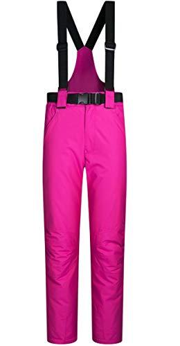 Damen Mädchen Outdoor Mountain Wasserdicht Winddicht Ski Schnee Snowboard Latz Warm Isoliert Snowboard Hosen Hosenträger - Pink - Large(Etikett XX-Large)