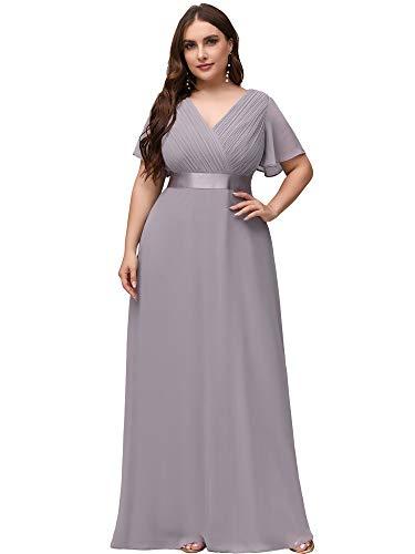Ever-Pretty Damen Abendkleid A-Linie Lange Abschlusskleid V Ausschnitt Kurze Ärmel Hohe Taille Grau 54