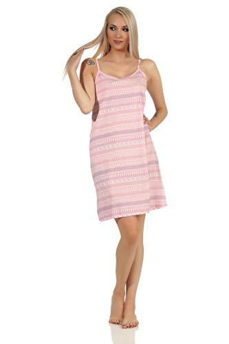 NORMANN-Wäschefabrik Damen Spaghetti Nachthemd im Ethnolook - auch in Übergrössen bis Gr. 60/62 - 112 90 226, Farbe:rosa, Größe:48-50