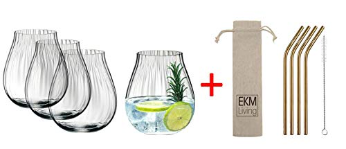 Riedel 5515/67 Gin Tonic Optical Glazen Set 4 stuks + gratis set van 4 EKM Living RVS rietjes
