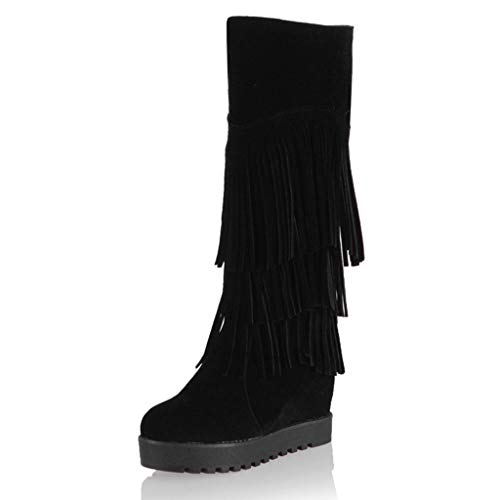 BaZhaHei Zapatillas Mujer después de lijar con borlas Botas Altas Mangas Cuñas Zapatos de Nieve Calzado de Mujer después de lijar con borlas Botas
