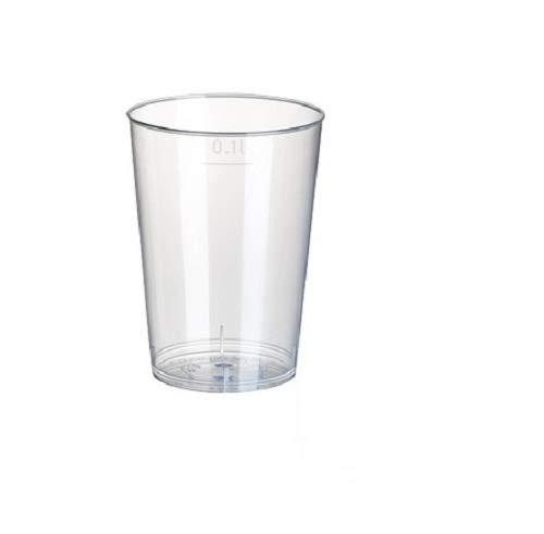 Gastro-Bedarf-Gutheil 40 Trinkbecher Plastikbecher aus Kunststoff PP 0,1 l Durchmesser 5,2 cm Höhe 7,4 cm transluzent unzerbrechlich Mehrwegbecher