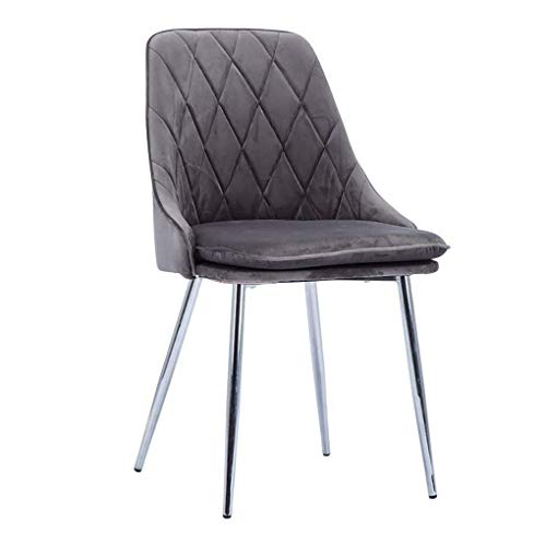 Hocker H-Eitelkeit Frisierkommode Stühle Soft Velvet Dining Chair, Küchentheke Lounge Side Sitz, mit Metall Beine, for Wohnzimmer Schlafzimmer Cafe Vanity (Color : Gray, Size : Silver Legs)
