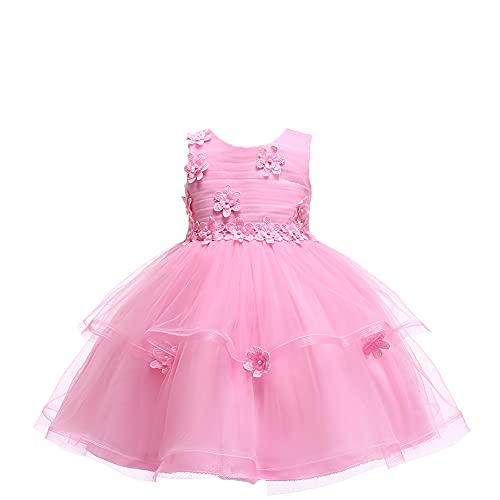 WAWALI Vestido de niña para niños con volantes florales de tul para fiesta de boda, vestidos de dama de honor, princesa comunión bohemio, vestido de danza vintage