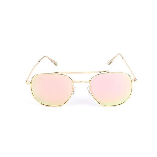 XUANTAO Gafas de Sol Retro Metal Segunda Guerra Mundial Gafas de Sol clásicas Generales Hombres y Mujeres Gafas de Sol polarizadas con Personalidad Marco Dorado Película en Polvo