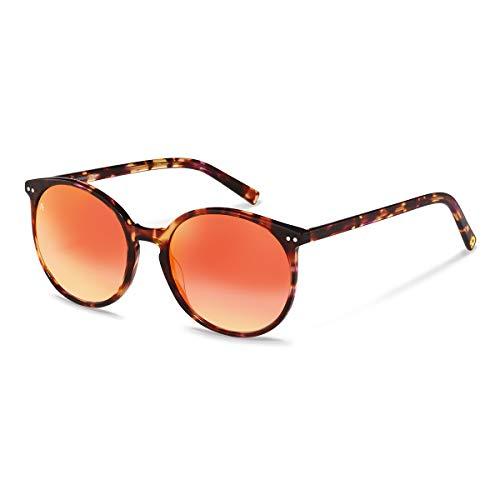 Rodenstock Sonnenbrille Youngline Sun RR333 (Damen), leichte Sonnenbrille, runde Sonnenbrille mit Acetat-Kunststofffassung, red havana, m