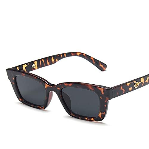 Astemdhj Gafas de Sol Sunglasses Gafas De Sol Cuadradas Retro para Mujer Gafas De Sol Vintage para Mujer/Hombre Gafas De Sol De Lujo para Mujer Pequeño Leopardo GrisAnti-UV