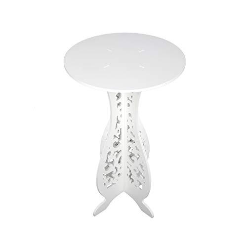 N/G Mesa auxiliar redonda de 40 x 60 x 31 cm, pequeña mesa de café de madera blanca de plástico tablero redondo pequeño mesa de té escritorio