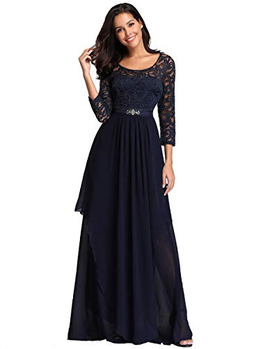 Ever-Pretty Damen 3/4 Ärmel A-Linie Elegant Empire Chiffon Lang Abendkleider Navy Blau 50