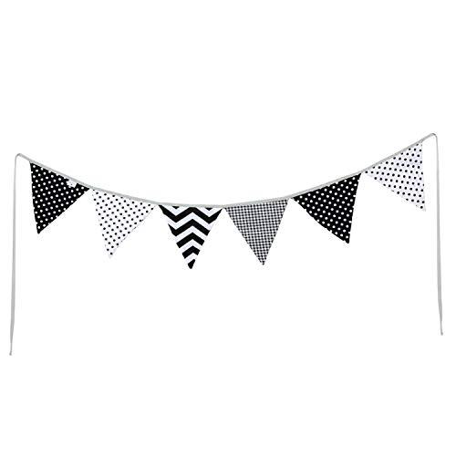 PREMYO Banderines de Tela Infantiles - Guirnaldas Decoración Habitación Bebé Niño - Triángulos Colores Blanco Negro
