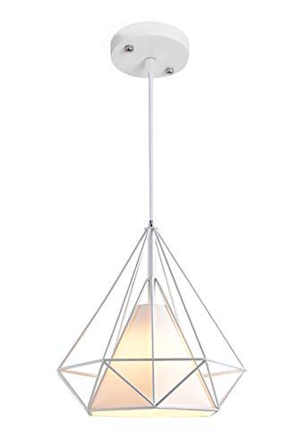 Vecys Lámpara Colgante Industrial Vintage E27 Araña de Restaurante Nórdico Loft Light Simple y Creativo Arte Moderno Araña de Diamantes(Blanco,25CM)