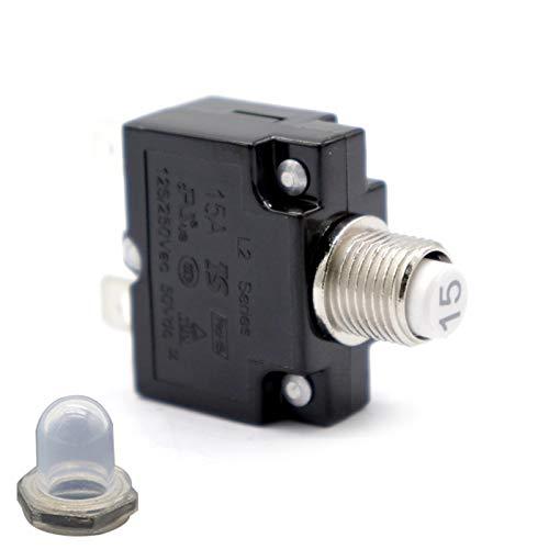 Fesjoy Restablecer Interruptor térmico, AC 125 / 250V 20A reinicio Interruptor térmico protección de sobrecarga disyuntor Protector de sobrecarga