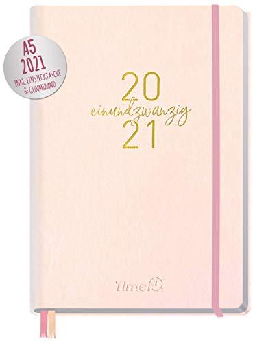 Chäff-Timer Premium Kalender 2021 A5 [Rosé-Gold] Terminplaner, Terminkalender, Wochenplaner, Wochenkalender, Organizer mit Gummiband und Einstecktasche | nachhaltig & klimaneutral
