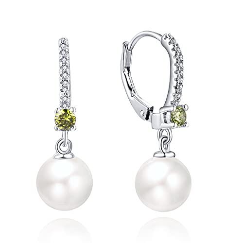 JO WISDOM Pendientes de Perla de Plata de Ley 925 para Mujer con 8mm Perla Circonita cúbica AAA Piedra natal de Agosto Color de Peridoto,Pendientes de boda