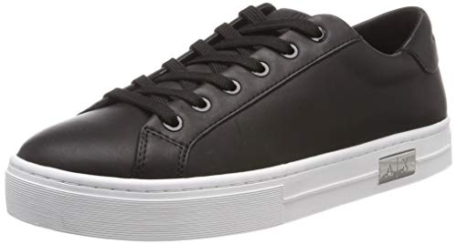 Armani Exchange Cow Leather Lace Up Sneaker, Zapatillas Mujer, Negro (Black + White A120), 38 EU