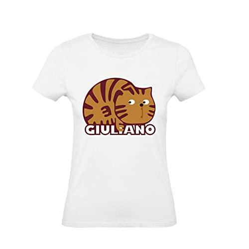 T-Shirt Donna Cotone Basic Super Vestibilita Top qualita - Gatto Giuliano - Kiss Me Licia - Divertente Humor Made in Italy (Bianca, S)