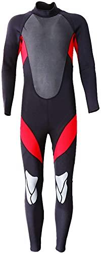 Moda Hombres Wetsuits Neopreno 3mm Cuerpo Completo Piel Deportiva Traje de Buceo para Buceo Snorkeling Natación Chaqueta de Buceo Traje para Surfear (Color : Red, Size : L)