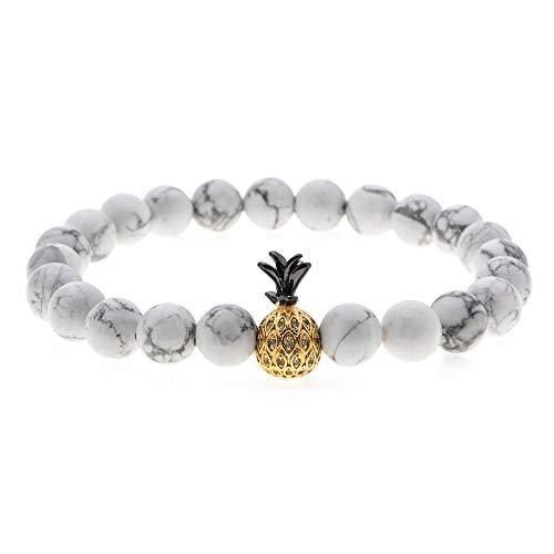 CHEMOXING Frauen Mann elastische Perlen Ananas Charms Armbänder & Armreifen Naturstein Zirkon Strand Armband Schmuck Schmuck-B