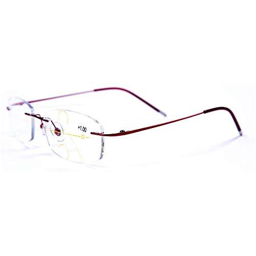 CAOXN Lector Sin Marco, Gafas De Lectura Multifocales Progresivas para Hombre Y Mujer con Lentes Anti-Azules para Gafas De Hipermetropía Y Presbicia,Púrpura,+2.50