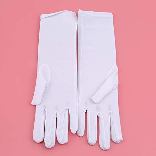 Summer Women Sunscreen Embroidered Gloves Lady Medium-Long Thin Elastic Etiquette Gloves Fashion Driving Car Accessories - (Color: Khaki)