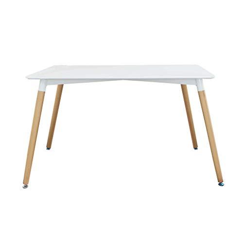 Milani Home s.r.l.s. Tavolo da Pranzo Moderno di Design Fisso Cm 120 X 80 in ABS Bianco con Gambe in Legno per Interno Sala da Pranzo