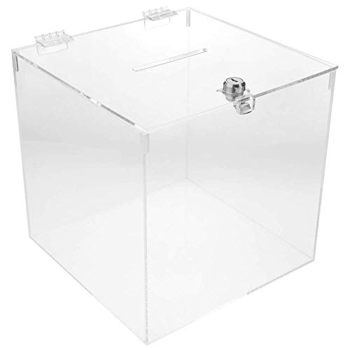 PrimeMatik - Urna de metacrilato Transparente con Llave de Seguridad 20x20x20cm